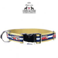 DOG COLLAR - RETRO VW CAMPER VAN RED ON NAVY BLUE AND WHITE STRIPES